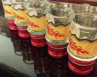 Shot Glasses made from Repurposed FIREBALL CINNAMON WHISKEY Bottles