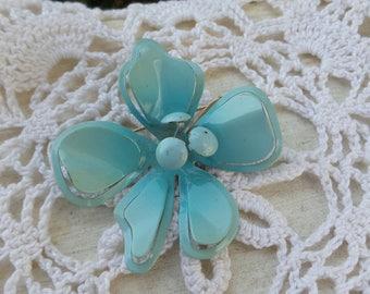 Vintage Enamel Blue Flower Pin