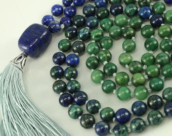 Lapis Lazuli, Chrysocolla, and Aventurine 108 Mala Tassel Necklace - Chakra Meditation, Knotted Prayer Tassle, Long Gemstone Necklace
