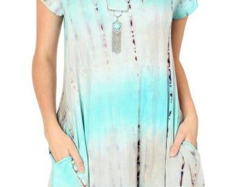 Tie dye pocket dress -M
