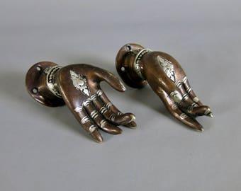 "Small 3.75"" Copper & Silver Tone Buddha Mudra Hand Cabinet Door Handle Pull Pair"