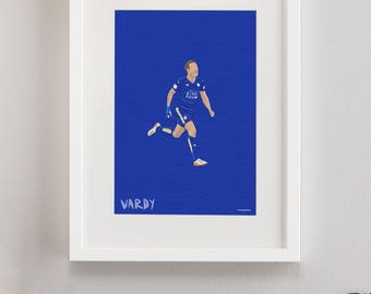 Leicester City FC Illustrated Print, LCFC gifts, Football Art, Gift for Men, Football Gifts, Football Posters, Jamie Vardy