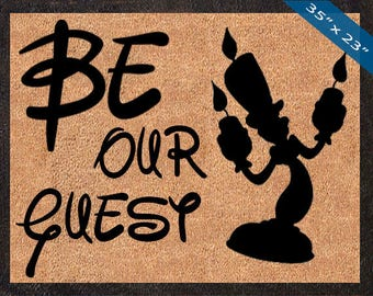 Be Our Guest, Lumiere Silhouette! Custom Disney DoorMats, Great for a Wedding, Anniversary, Birthdays, Housewarming, or Graduation Present!