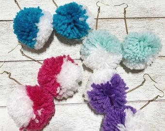 Large Pom Pom drop earrings (multiple colors)