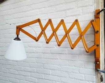 Vintage wooden Scissor lamp/scissorlamp/harmonica lamp with milky glass shade