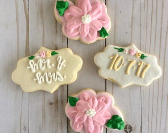 1 Dozen Customizable Floral Bridal Shower Cookie Set
