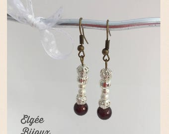 Earrings white silver and Brown