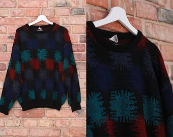 Vintage 80s sweater Retro 1980 Oversize top Black green red purple Loose fit Casual men fashion Knitted Warm and thick for Winter / Large