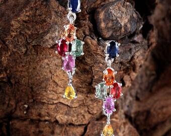 Handmade Jewelry, 925 Sterling Silver, Multi Sapphire earrings, Sapphire Earrings, Free Shipping, Sapphire Jewelry, Natural Sapphire Jewelry