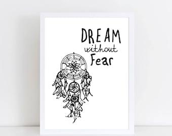 Monochrome Bedroom print - Dream catcher print- Black and white bedroom art - Bedroom print - Dream catcher art - Monochrome art - DREAM ART