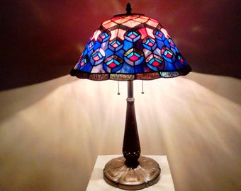 Dale Tiffany Peacock Plumes Stained Glass Shade on Antique? Six-Petal Metal Base