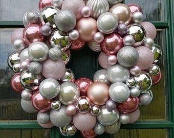 Pink bauble wreath, large wreath, christmas bauble, decoration, handmade wreath, door decor, christmas, baubles