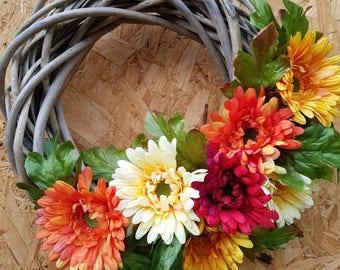 Gerbera wreath, spring flower wreath, memorial wreath, mothers day flowers, russet flowers, spring wreath, spring wreath