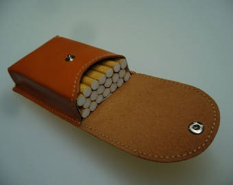 Orange cowhide leather cigarette case
