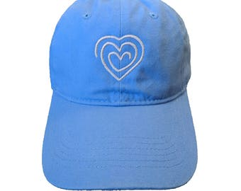 Heart Drawing Embroidered Carolina Blue Hat