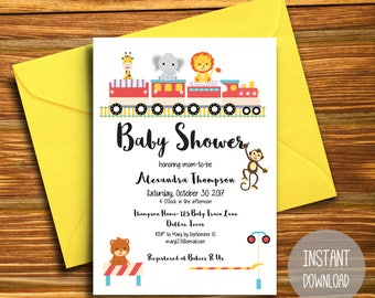 Printable Baby Shower Invitation Template, Instant Download, Baby Shower Invitation, animals, train, circus, Baby Shower Invites
