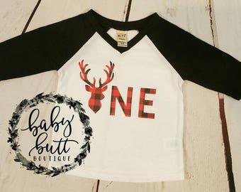 Oh deer he's ONE/Deer one/raglan/birthday shirt/boho/buffalo red plaid/first birthday/boy/toddler boy/photo prop/boho birthday/lumberjack