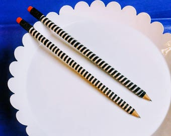 Black & White Striped Pencils (2 PCK)