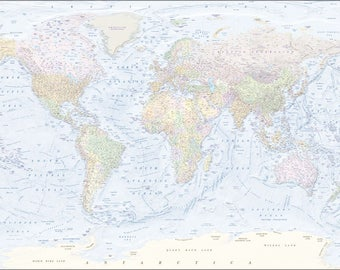 large MAP of THE WORLD print up to 3x4 meters [digital file]
