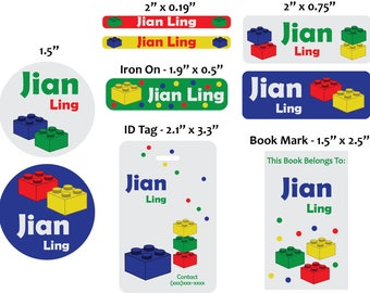Personalized lego back to school set stickers/Id tag/20 iron on clothing labels/5 magnet bookmarks/personalized waterproof label/lego labels