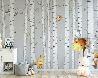 Birch Tree with Woodland Creatures Peel and Stick Wallpaper
