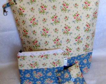 Large knitting project bag set hand made using Tilda fabric