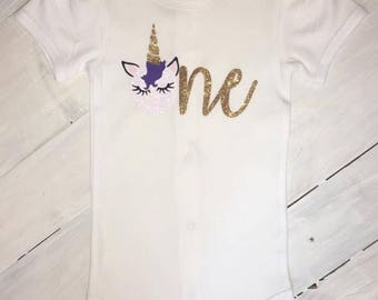 Unicorn First Birthday Onesie
