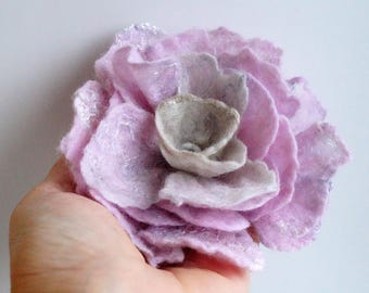 Brooch flower rose felted wool