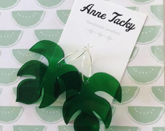 GIANT amazon LEAF laser cut acrylic clear green  earrings studs tacky festival wear kitsch retro style