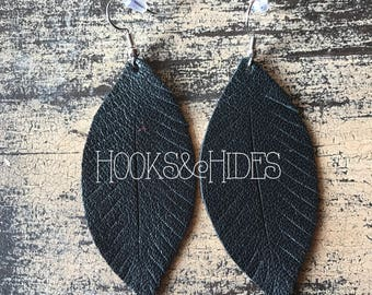 Black Feathers | leather feather earrings, black earrings, black feathers, feather earrings, leather earrings, black