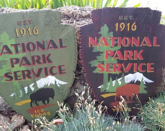 National Park Service Arrowhead, National Parks, vintage sign, Lodge, Cabin, WPA, Home Decor, wall hanging, posters, art and paintings, wood