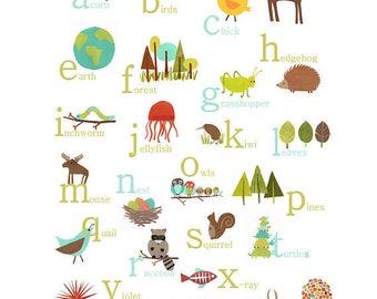 English Alphabet Wall Art Digital Download Print 11x14 Animal Prints Abc Art