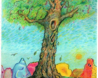 """Tree in the Country - 11""""x14"""""""