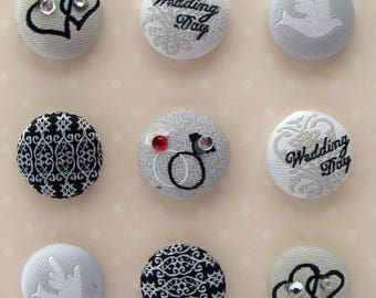 Buttons - brads - tissue - fabric - wedding - hearts - rings - dove - set of 9 buttons brads