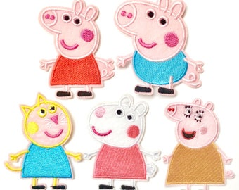 Iron On Patch, Embroidered Patch, Applique, Sewing Applique, Clothing Badge, Peppa Pig Iron On, Peppa Pig Iron On Patch