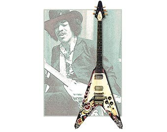 T-SHIRT: Jimi Hendrix Flying V  Guitar Legend - Classic T-Shirt & Ladies Fitted Tee - (LazyCarrot)