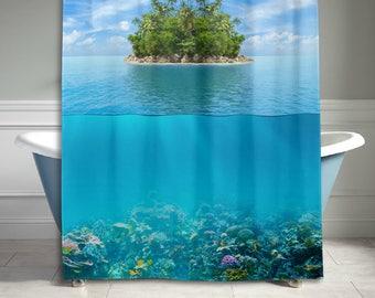 Sea Ocean Water Island Underwater Palm Tree Shower Curtain Bathroom Decor Home Decor