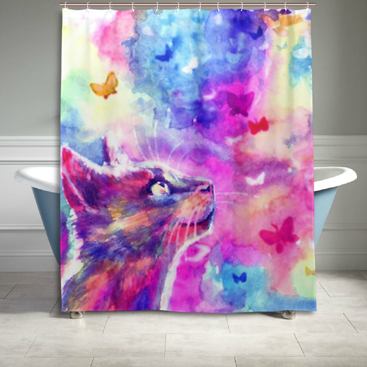 Colorful Watercolor Cat Shower Curtain 60 X 72 Inch Bathroom