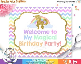 50% OFF SALE Unicorn Welcome Sign, Unicorn Birthday Sign, Rainbow, Unicorn Birthday Party Sign, Door Sign, Birthday party decorations INSTAN