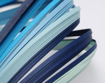 120 strips of paper for Quilling - ombre blue