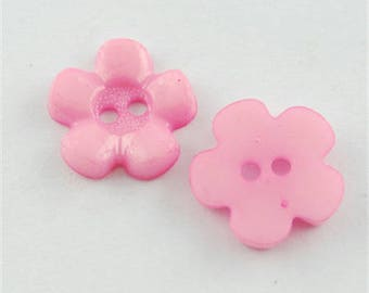 Button flower shaped acrylic with 2 holes - pink - 1 set