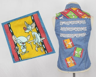 Pinky and The Brain patched denim shirt Animaniacs 90s style clothing handmade patches sleeveless collared blouse