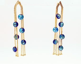 Spectacular earrings with Swarovski elements blue/white Free Shipping