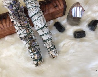 Two large 8 inch smudge wands