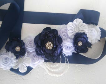 Navy blues and white maternity sash