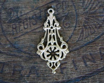 Vintage French Brass Stamping/Antique Style/Pendant/Earring Drop/Ornate/Victorian/Art Nouveau/French Findings