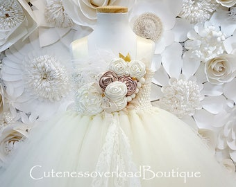 Ivory Flower Girl Tutu Dress-Ivory Tutu Dress-Ivory Tutu.Flower Girl Tutu Dress-Ivory Wedding Tutu Dress-Birthday Dress.