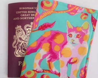 Tula Pink fabric passport cover.  Tabby road fabric passport cover. Disco kitty, cat fabric.