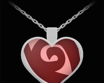 Red swirl heart pendant