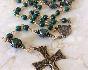Malachite and Azurite green and blue Wire-wrapped Irish Gemstone Rosary with Bronze Crucifix